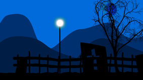 Lamppost on a graveyard. 3d illustration of blue sky and blue mountains and a tree and a lamppost on a graveyard Royalty Free Stock Image