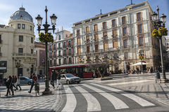 Lamppost and Hotel Victoria in corner with Recogidas street and Royalty Free Stock Photo