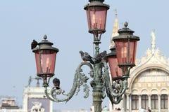 Lamppost i Venedig. Italien. Arkivfoton