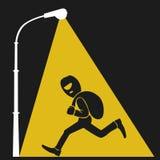 Lamppost lights on thief with sack of money, flat illustration stock illustration