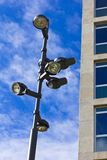 Lamppost over blue sky Stock Images