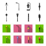 Lamppost in retro style, modern lantern, torch and other types of streetlights. Lamppost set collection icons in black. Flet style vector symbol stock Royalty Free Stock Photos