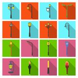 Lamppost in retro style,modern lantern, torch and other types of streetlights. Lamppost set collection icons in flat Stock Photos