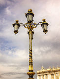Lamppost Royal Palace Cityscape Spanish Flag Madrid Spain Stock Photo