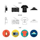 A lamppost with a sign, a T-shirt with an inscription, a radio, a car roof.Advertising,set collection icons in black. Flat,outline style vector symbol stock Royalty Free Stock Images