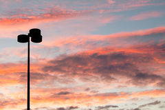 Lamppost Silhouette at Sunset Stock Photo