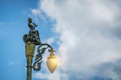 Lamppost street road. On blue sky background Stock Photos