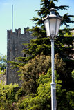 Lamppost and tower San Marino Castle Stock Images
