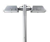 Lamppost with two lamps. For home, park, street or building stock photo