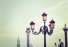 Lamppost in Venice in vintage tone Stock Photo