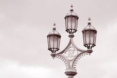 Lamppost on Westminster Bridge, London Royalty Free Stock Photos