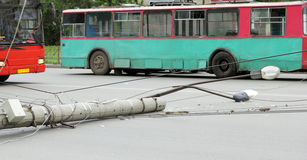 Lamppost, which fell on the road. Old lamppost, which fell on the road Stock Photos