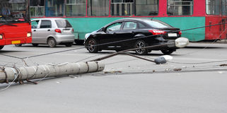 Lamppost, which fell on the road Royalty Free Stock Photo