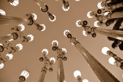 Lampposts do vintage na noite Imagem de Stock