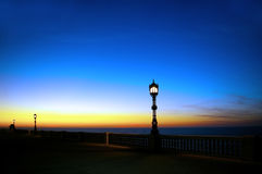 Lampposts at sunset in Cadiz. Andalusia. Spain Stock Photo