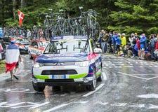 Lampre梅里达队-环法自行车赛汽车2014年 免版税库存照片