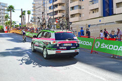 Lampre Merida Team Car. The Team car following their rider in the time trial TT race stage 19 at La Vuelta España 2016 in Calpe Spain Royalty Free Stock Images
