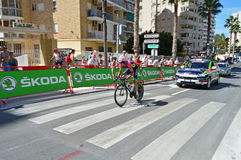 Lampre Merida Time Trial Cyclist fotografía de archivo libre de regalías