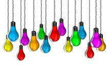 Lamps. Illustration of lamps of different colours on a white background Royalty Free Stock Photography