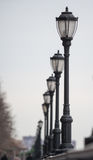 Lamps around Hudson river on Manhattan Royalty Free Stock Photography