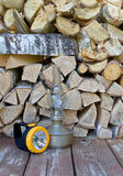Lamps and firewood Stock Photos