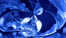 Lamps and blue crystal chandelier Royalty Free Stock Image