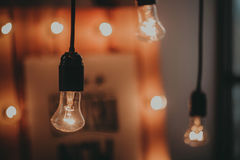 Lamps. In the blurred background and side light royalty free stock photo