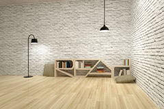 Lamps with bookcase on wooden floor and bricks wall Stock Photos
