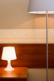 Lamps in a brown bedroom Stock Photo