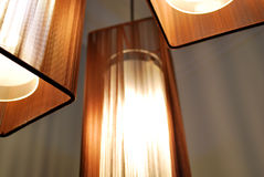Lamps with Brown Shades. Hanging from the ceiling Stock Image
