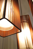 Lamps with Brown Shades. 3 hanging Lamps with Brown Shades Stock Image
