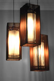 Lamps with Brown Shades. 3 hanging Lamps with Brown Shades Royalty Free Stock Photo