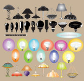 Lamps chandeliers. There are lamps and chandeliers color and silhouette Stock Photos