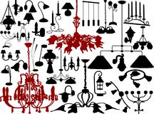 Lamps and chandeliers. Vector illustration of chandeliers and lamps Stock Photography