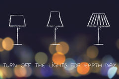 Lamps on city lights bokeh, turn off for Earth day Royalty Free Stock Photo