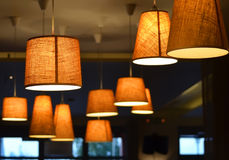 Lamps in a coffee shop Stock Photography