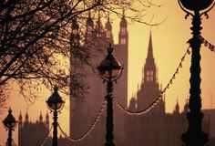 Lamps Embankment Houses of Parliament Stock Photos