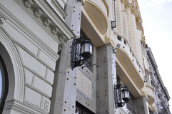 Lamps on the facade of Building from Bratislava in Slovakia Royalty Free Stock Photos