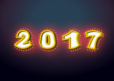 2017 with lamps. garland for New year and Christmas. Retro point. Er with light bulb. Luminous signboard. Glowing numbers. Vintage shiny lettering bulbs Royalty Free Stock Photo