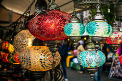 Lamps from glass. City bazar Stock Photography