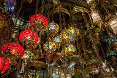 Lamps glass in the street market in Istanbul, Turkey stock photos