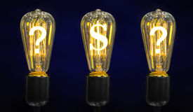 Lamps that glow symbols of world currencies Stock Image