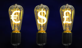 Lamps that glow symbols of world currencies. Stock Images