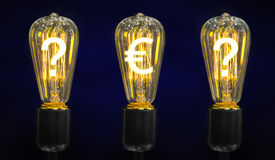 Lamps that glow symbols of world currencies. Royalty Free Stock Images