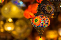 Lamps at the Grand Bazaar. Multi-colored lamps hanging at the Grand Bazaar in Istanbul royalty free stock photo