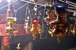 Lamps at Grotto of the Nativity stock photography