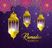 Lamps hanging with geometric flowers to religion festival. Vector illustration stock illustration