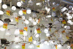 Lamps hanging in the light store Stock Images