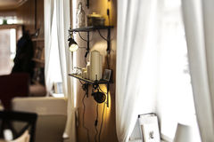 Vintage lights. Lamps hanging on a wall inside a house Royalty Free Stock Image