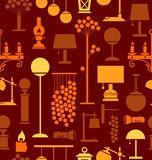 Lamps for home and garden, background, seamless, brown. Stock Photography